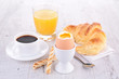 egg, coffee and croissant