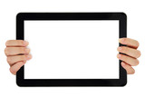 Female hands pointing on tablet with blank screen