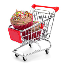 cupcakes in a shopping cart