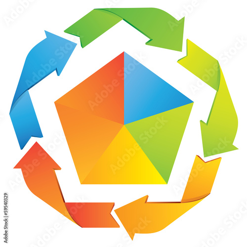pentagonal diagram, business template