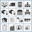 warehouse management icons, shipping icons