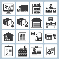 warehouse management icons, shipping icons