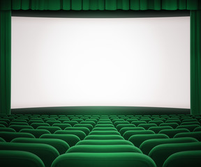 cinema screen with open green curtain and seats