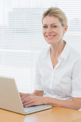 Smiling businesswoman using laptop at desk