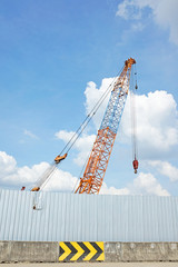 Crane in construction zone