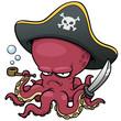 vector illustration of Cartoon pirate octopus