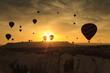 Balloons in Cappadocia at dawn sky background