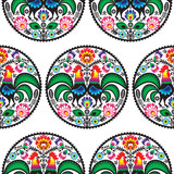 Seamless Polish floral pattern with roosters - 59541519