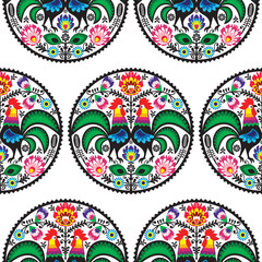 Seamless Polish floral pattern with roosters