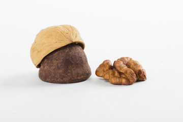 nuts on the white background