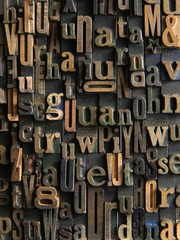 Vintage Wooden letters composition