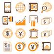 financial icons, orange theme