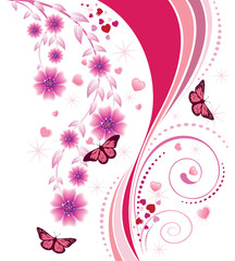 Pink floral ornament