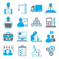 construction, engineering icons, blue theme