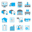 shipping icons, business management icons, blue theme