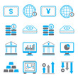 financial icons, blue theme