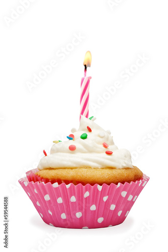 Birthday cupcake with a candle