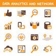 data analytic icons, orange theme