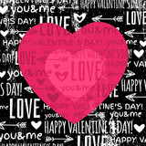 black background with  red valentine heart and wishes text,  vec