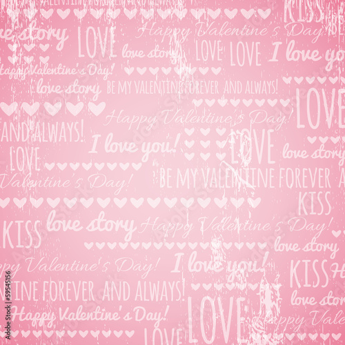 pink background with  valentine hearts and wishes text,  vector
