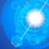 Bright blue background. Sun burst with lens flare
