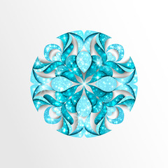 Paper snowflake with stars and twinkly lights