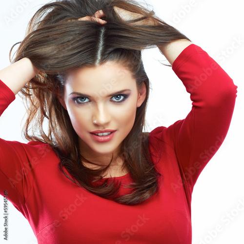 Woman hair beauty portrait. Beautiful girl isolated on white ba