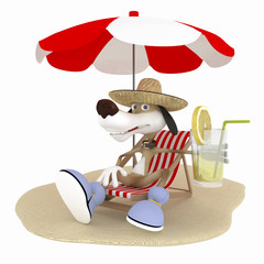The 3D dog on a beach has a rest.