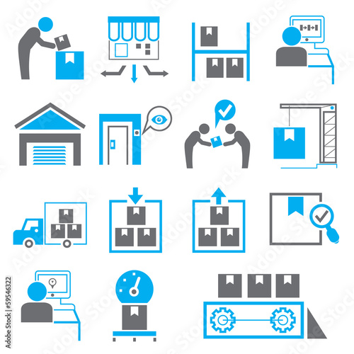shipping icons, manufacturing icons, blue theme