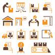 shipping management icons, orange theme