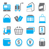 shopping icons, blue theme