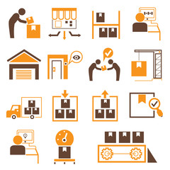 shipping management icons, orange theme