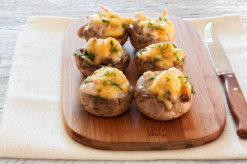 Mushrooms stuffed with mince and cheese