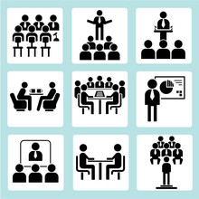 Spotkanie biznesowe ikony, ikony, ikony biurowych