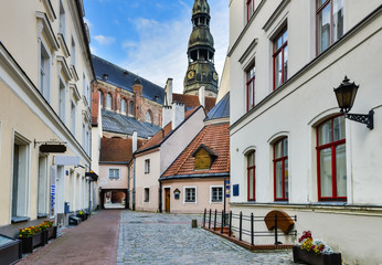Old town in Latvian capital Riga city