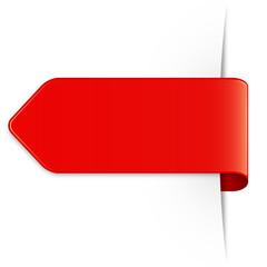 Von rechts, langer roter Sticker Pfeil mit Textfreiraum