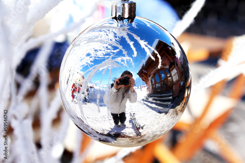 Self-portrait - reflection in the christmas bulb