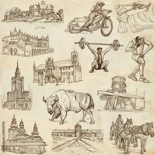 Traveling series: POLAND - hand drawings, old paper