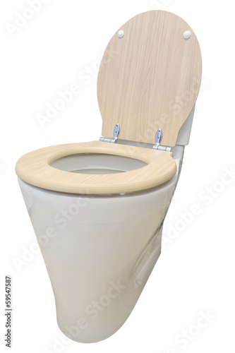 Toilet isolated on white background with wooden cover