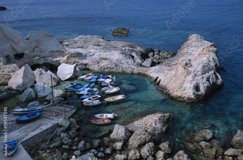 Italy, Ponza Island, view of the rocky coast of the island