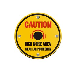 caution high noise area - circle sign