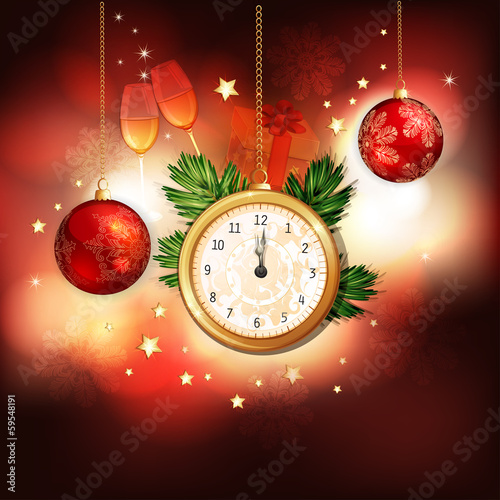 Happy New Year illustration with gold clock