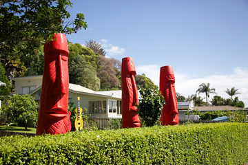 Ethnic sculptures in the Coromandel, New Zealand
