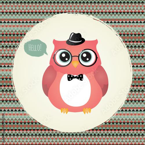 Hipster Owl in Textured Frame design illustration - 59549586