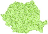 Map of Romania - Europe - in a mosaic of green squares