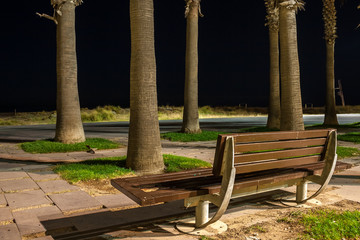 Bench alone in the night