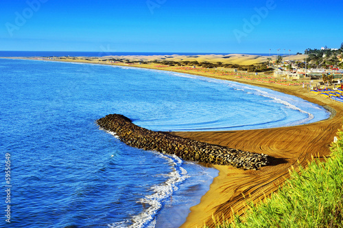 Playa del Ingles beach and Maspalomas Dunes, Gran Canaria, Spain