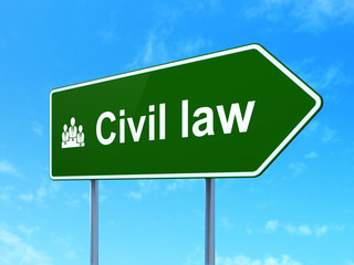 Law concept: Civil Law and Business Team on road sign background