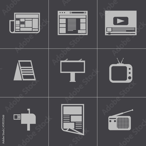 Vector black advertisement icons set