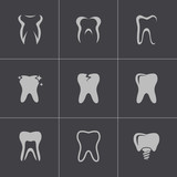 Fototapety Vector black teeth icons set